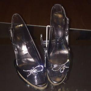 "Silk Vera Wang ""anthracite"" sandal/slingback"